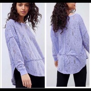 Free People Purple Lace Crew Neck Long Sleeve Top